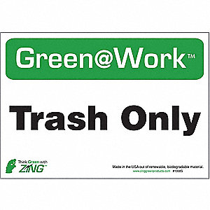 RECYCLE SIGN TRASH ONLY 5/PK