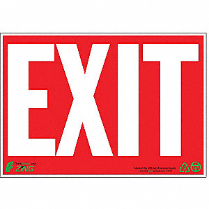 SIGN EXIT RED-WHITE 7X10 PL