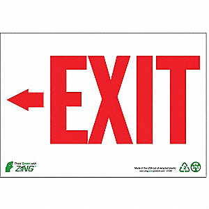 SIGN EXIT LEFT ARROW 7X10 PL