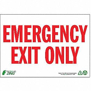 SIGN EMERGENCY EXIT ONLY 7X10 PL