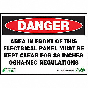 SIGN DANGER ELECTRICAL PANEL 7X10