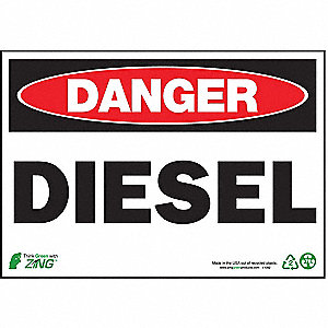 SIGN DANGER DIESEL 7X10 PL