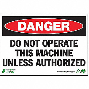 SIGN DANGER NO OPERATE 7X10 PL