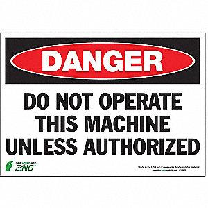 SIGN DANGER NO OPERATE 7X10 SA