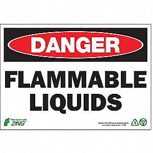 SIGN DANGER FLAM LIQUID 7X10 PL