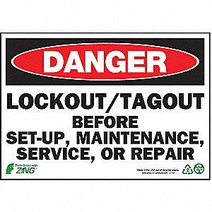 SIGN DANGER LOCK OUT 7X10 PL