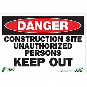 SIGN DANGER CONSTRUCTION 7X10 PL