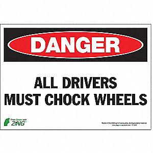 SIGN DANGER CHOCK WHEEL 7X10 SA