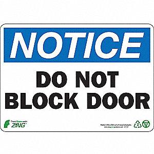 SIGN NOTICE BLOCK DOOR 7X10 PL