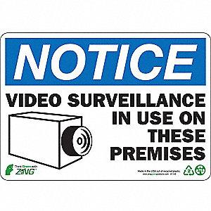 SIGN NOTICE VIDEO SURV 7X10 PL