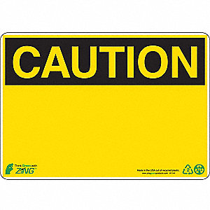 SIGN CAUTION BLANK 7X10 PL