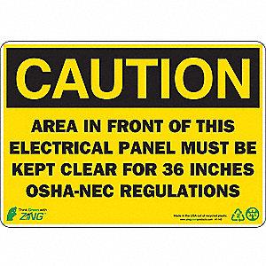 SIGN CAUTION ELEC PANEL 7X10 PL