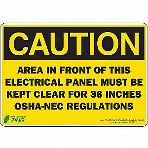 SIGN CAUTION ELEC PANEL 7X10 SA