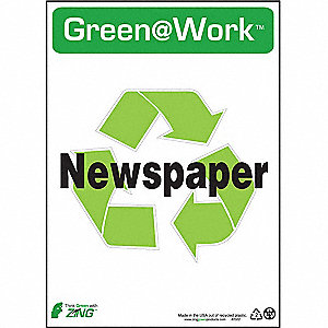 SIGN GREEN AT WORK NEWSPAPER 14X10