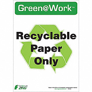 RECYCLE SIGN PAPER ONLY 5/PK