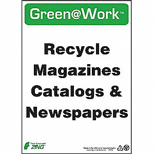 SIGN GREEN AT WORK CATALOGS 14X10