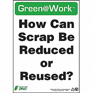 SIGN GREEN AT WORK REDUC SCRP 14X10