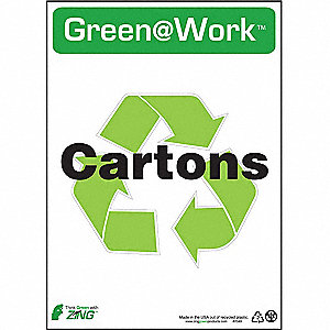 SIGN GREEN AT WORK RCYCL CRTN 14X10