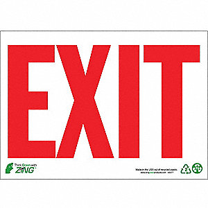 SIGN EXIT WHITE-RED 10X14 PL