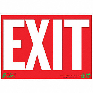 SIGN EXIT RED-WHITE 10X14 PL