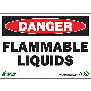 SIGN DANGER FLAM LIQUID 10X14 PL