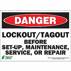 SIGN DANGER LOCK OUT 10X14 SA