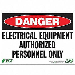 SIGN DANGER ELEC EQUIPMENT 10X14 PL