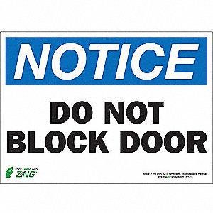 SIGN NOTICE BLOCK DOOR 10X14 SA