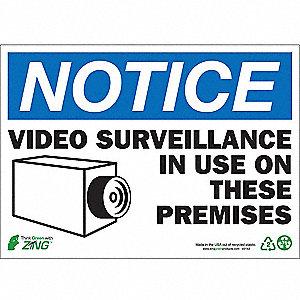 SIGN NOTICE VIDEO SURV 10X14 PL