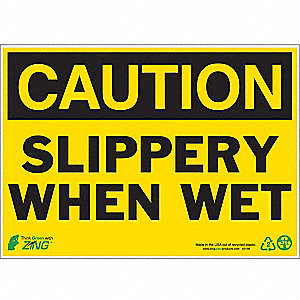 SIGN CAUTION SLIPPERY 10X14 PL