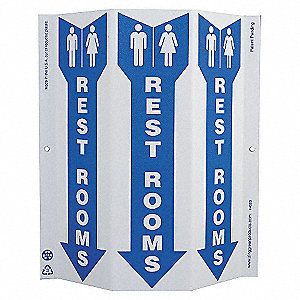SAFETY SIGN,REST ROOMS,3-SIDED