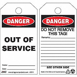 TAG DANGEROUT OF SERVICE 10/PK