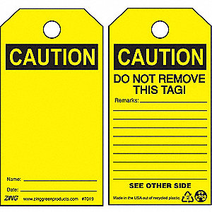 SAFETY TAG CAUTION BLANK 10/PK
