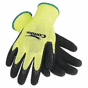COATED GLOVES,S,HI-VIS YELLOW/BLACK
