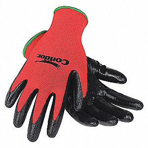 COATED GLOVES,L,BLACK/RED,PR