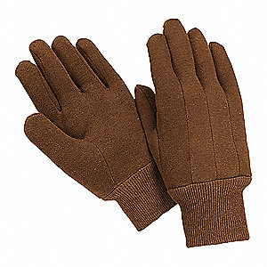 GLOVES JERSEY POLY/COTTON L BROWN