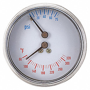 BOILER GAUGE,ROUND,0-75 PSI,60 TO 3