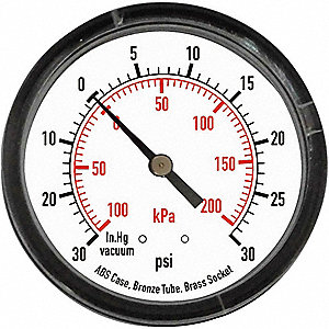 VACUUM GAUGE,2 1/2 IN,30 IN HG,BACK