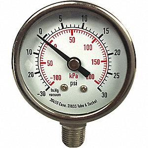 PRESSURE GAUGE,3 1/2 IN,1000 PSI,SS