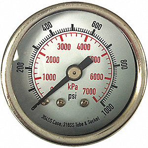 PRESSURE GAUGE,2 1/2 IN,2000 PSI,SS