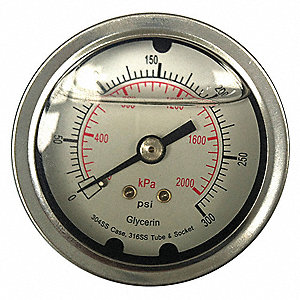 PRESSURE GAUGE,FILLED,2 IN,30 PSI,S