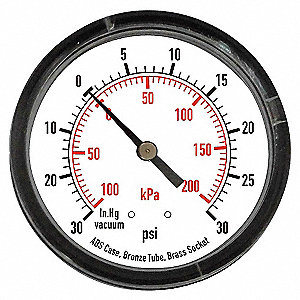 PRESSURE GAUGE,3 1/2 IN,300 PSI,BAC