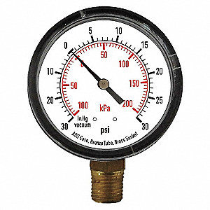 PRESSURE GAUGE,1 1/2 IN,100 PSI,LOW
