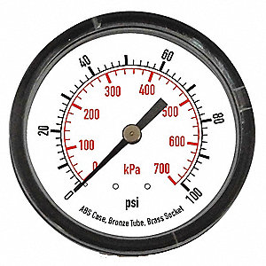 PRESSURE GAUGE,1 1/2 IN,100 PSI,BAC