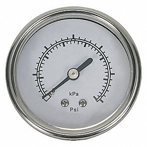 PRESSURE GAUGE,1 1/2 IN,60 PSI,SS,B