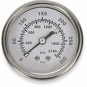 PRESSURE GAUGE,2 1/2 IN,300 PSI,SS,