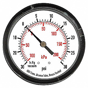 PRESSURE GAUGE,2 IN,30 PSI,BACK