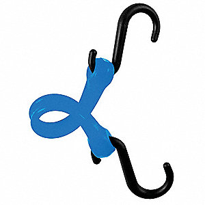 BUNGEE STRAP,S-HOOK,7 IN.L,BLUE