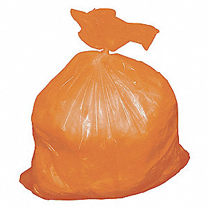 Trash Bags,55 gal.,Orange,LLDPE,PK75