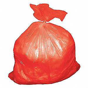 TRASH CAN LINER,40 TO 45 GAL.,RED,P